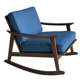 Vintage Danish Modern Newly Reupholstered Rocking Lounge Chair For Sale
