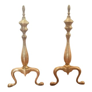 Mid-Century Brass Andirons- A Pair For Sale