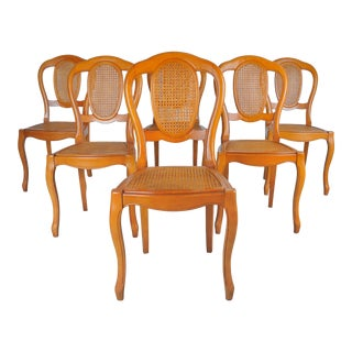 Vintage Set of 6 French Louis XV Caned Birch Dining Chairs For Sale