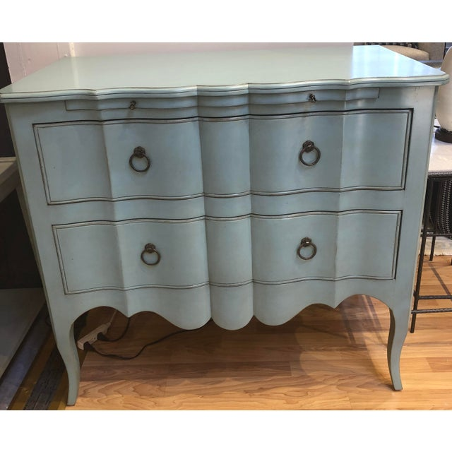 Two Drawer chest with pull out tray in a cotton candy blue finish. Made from solid wood and the inside of the drawers are...
