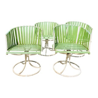 Vintage Mid Century Modern White Metal Chairs For Sale