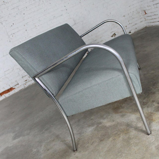 Art Deco Machine Age Streamline Moderne Royal Metal Co. Chrome and Upholstered Bench Sofa For Sale - Image 5 of 11
