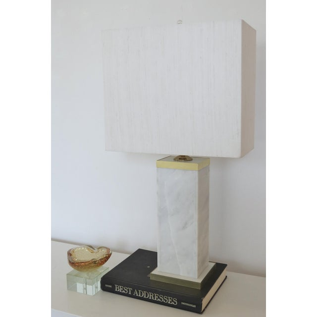 Custom Marble and Brass Lamp by C. Damien Fox - Image 7 of 9
