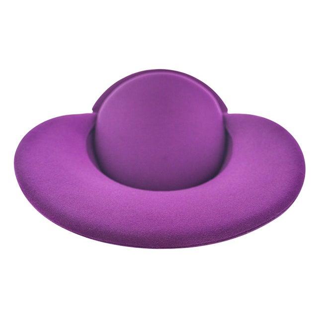 Verner Panton Swivel Cone Chair in Purple Wool For Sale - Image 9 of 10