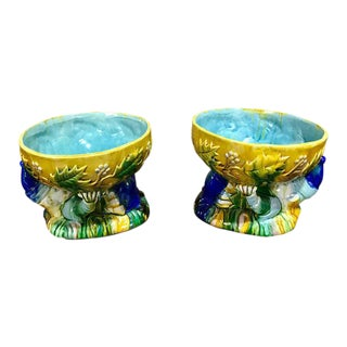 "Majolica George Jones Style ""Punch"" Bowls - A Pair"