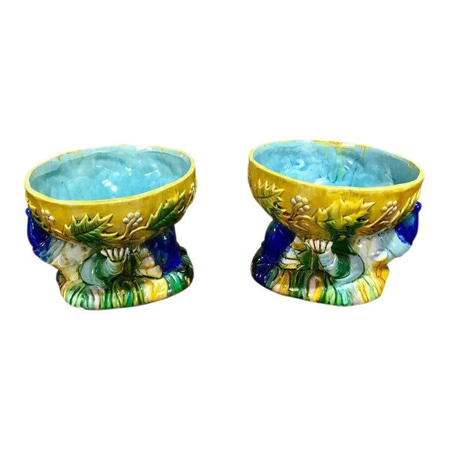 "Majolica George Jones Style ""Punch"" Bowls - A Pair For Sale"