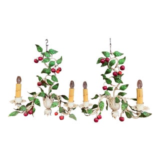 Pair of 20th Century French Painted Metal Sconces With Fruit and Leaf Decor For Sale