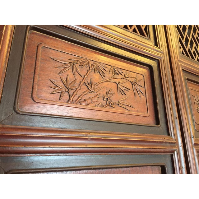 Antique Chinese Carved Wood Doors - Set of 4 For Sale - Image 9 of 12