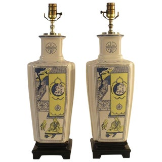 Pair of 1960s Asian Ceramic Lamps on Wood Base For Sale