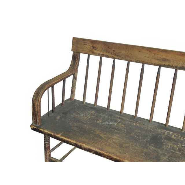 Tan Deacons Bench For Sale - Image 8 of 11