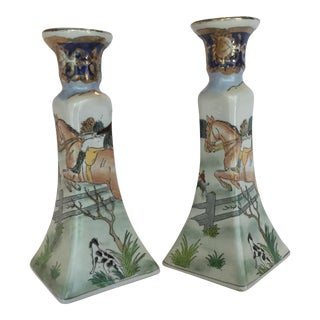 1970s Traditionaling Hunt Scene Ceramic Candlesticks - a Pair For Sale