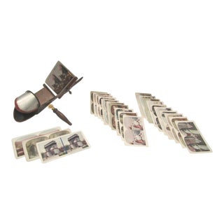 Antique Stereoscope & Stereo Cards Set - 25 Pc. Set For Sale