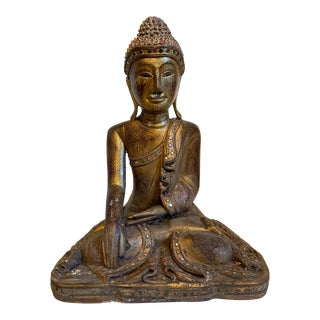 Antique Gold Gilt Carved Wood Southest Asian Temple Buddha For Sale