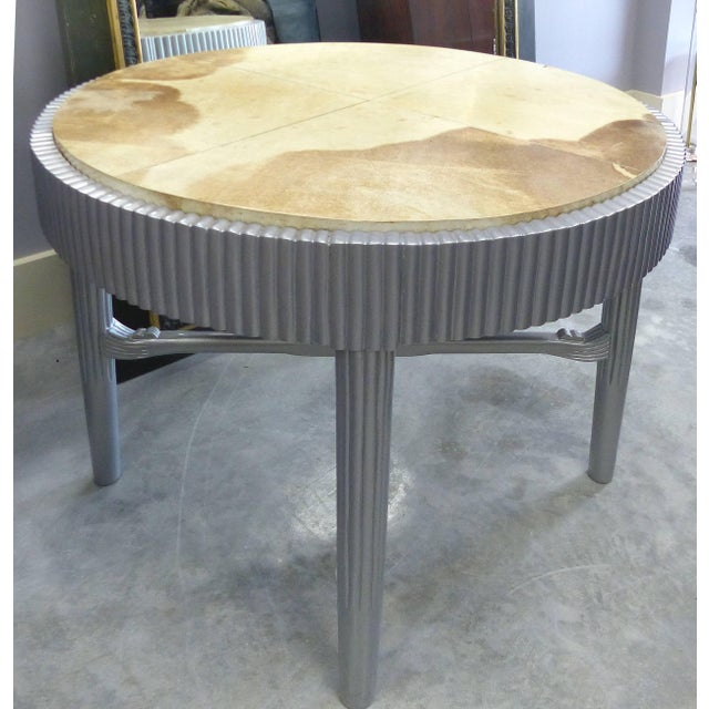 Albert Rateau French Art Deco Lacquered Tables With Goatskin Tops, Pair For Sale - Image 10 of 11