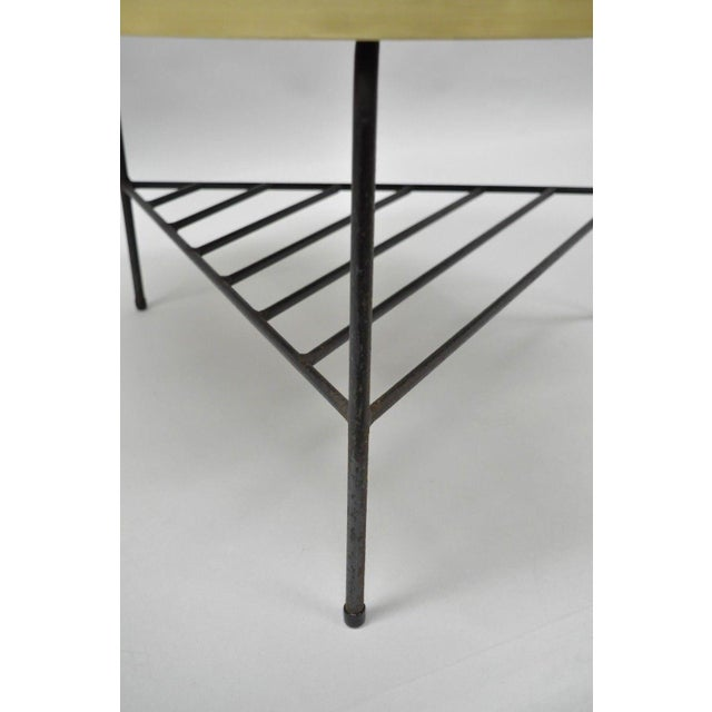 1950s Mid-Century Modern Paul McCobb Style Wrought Iron Tripod Coffee Table For Sale - Image 9 of 13