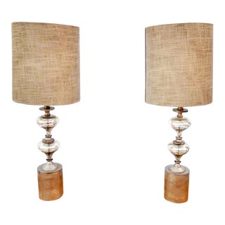 Vintage Mercury Glass Table Lamps - A Pair