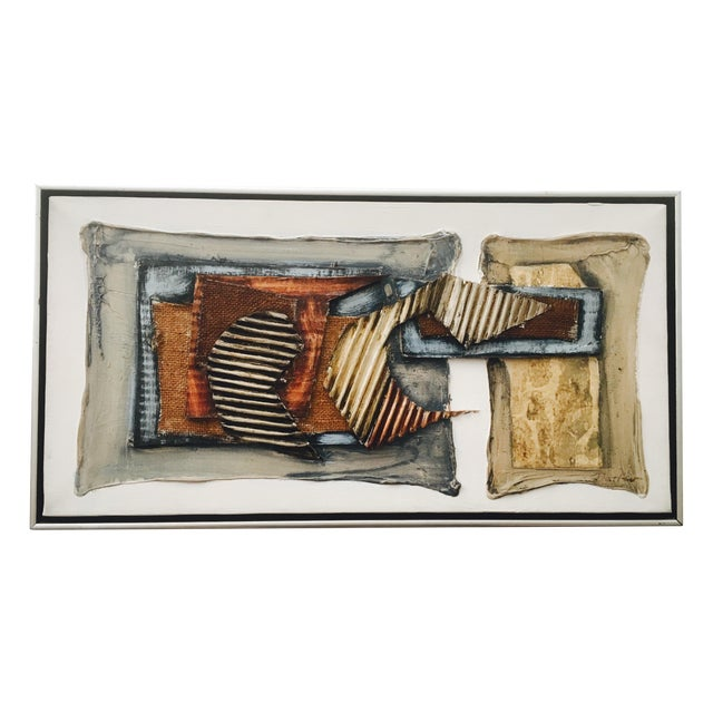 Vintage Mixed Media Abstract Painting - Image 1 of 9