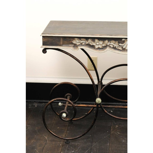 Vintage French Baker's Table With Painted Wood Top and Scrolled Iron Base For Sale - Image 4 of 11