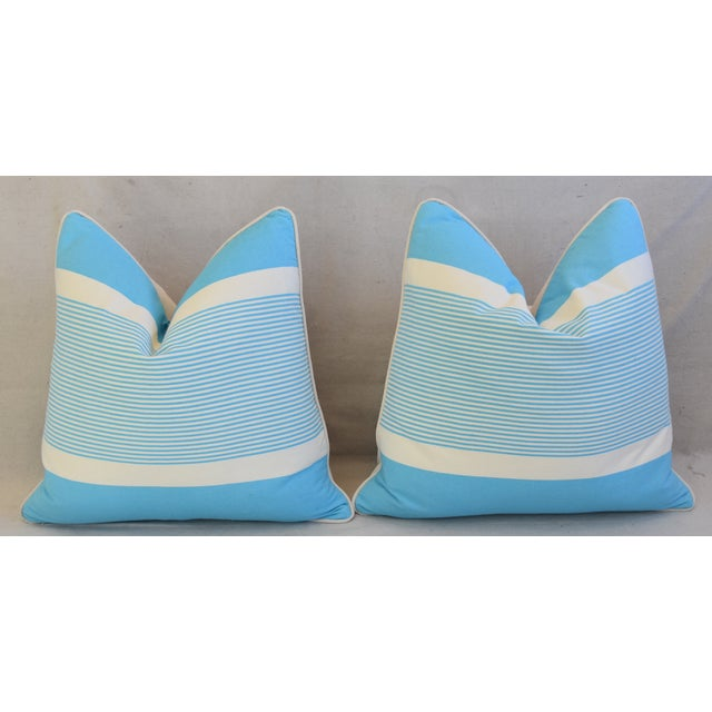 """French Blue & White Nautical Striped Feather/Down Pillows 22"""" Square - Pair For Sale In Los Angeles - Image 6 of 13"""