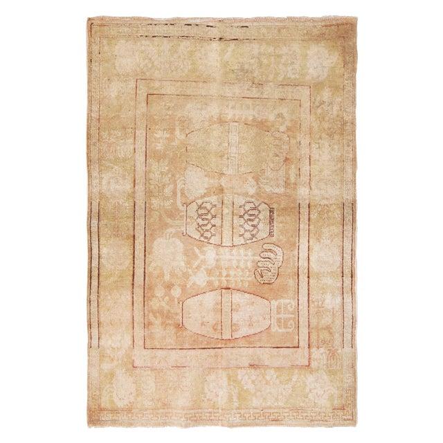 Antique Khotan Transitional Vase Pictorials Beige and Pink Wool Rug - 4′4″ × 6′6″ For Sale