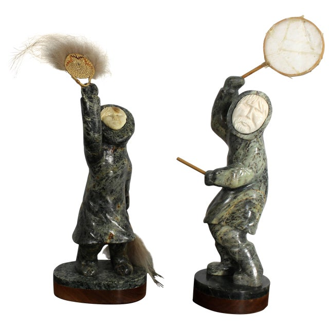 Modern Pair of Eskimo Soapstone and Tusk Carving Table Sculptures Signed Ekemo For Sale