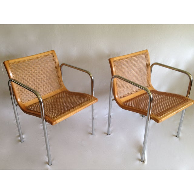 Chrome Dining Chairs with Caning - Set of 6 - Image 6 of 8