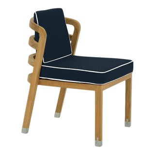 Linley Dining Side Chair in Sundeck Blue with Nice White Welt For Sale