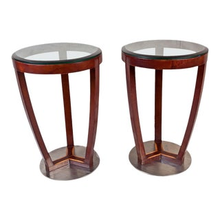 Mid-Century Modern Teak and Chrome Side Tables - a Pair For Sale