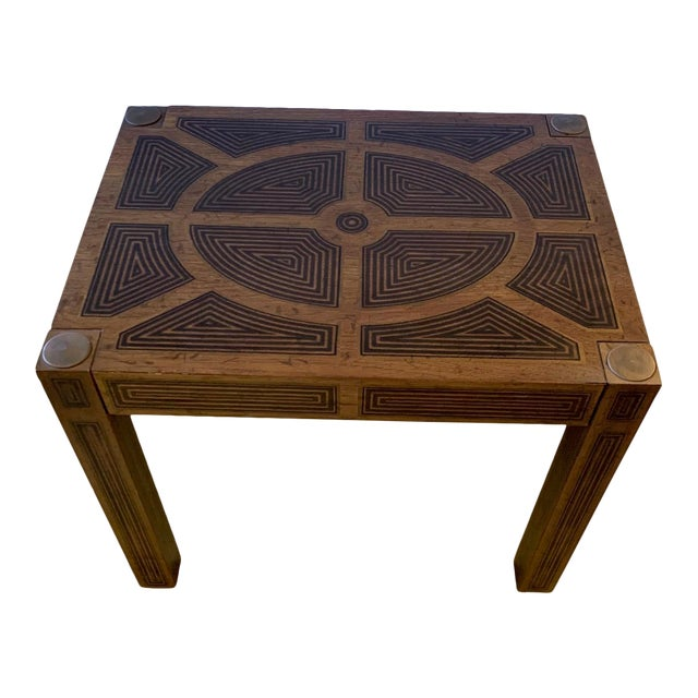 Inlaid Wood Rectangular End Table With Geometric Decoration For Sale