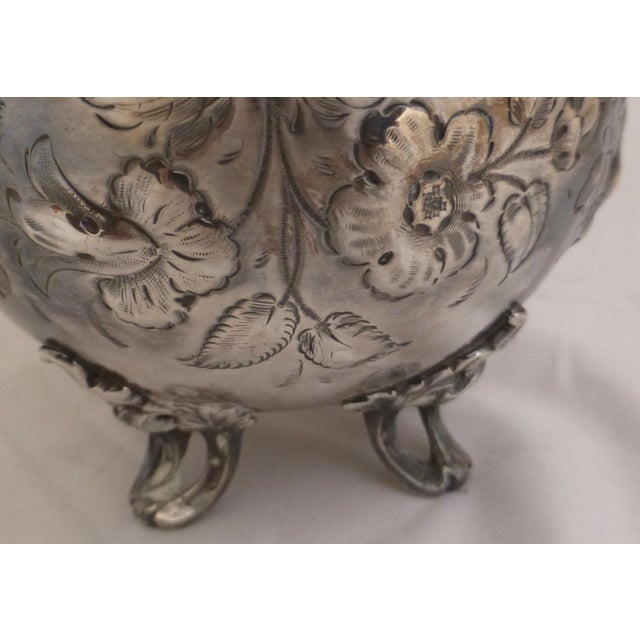 Art Nouveau Silver Plated Covered Bowl w. Floral Decoration For Sale In Boston - Image 6 of 13