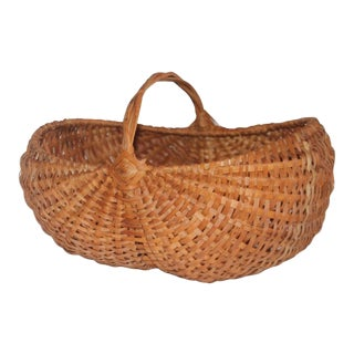 19th Century Woven Buttocks Basket For Sale