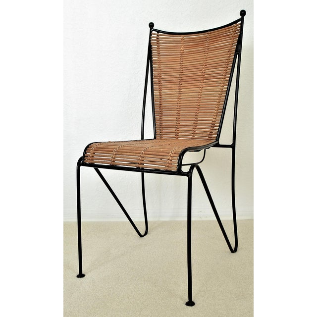 Ficks & Reed Mid-Century Organic Modern Bamboo & Rod Iron Chair Pencil Reed Rattan Albini Weinberg Style -- Tropical Boho Chic Mid Century Modern MCM For Sale - Image 11 of 11
