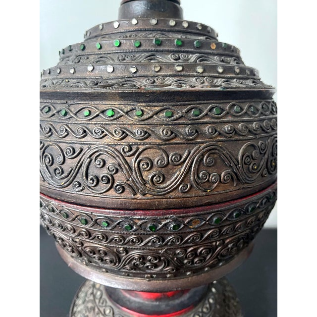 Early 20th Century Antique Lacquered Wood Offering Vessel, Thailand For Sale - Image 5 of 12