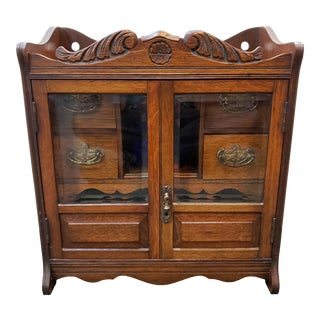 Late 19th Century English Edwardian Oak Smokers Cabinet With Pipe Rack and Humidor For Sale