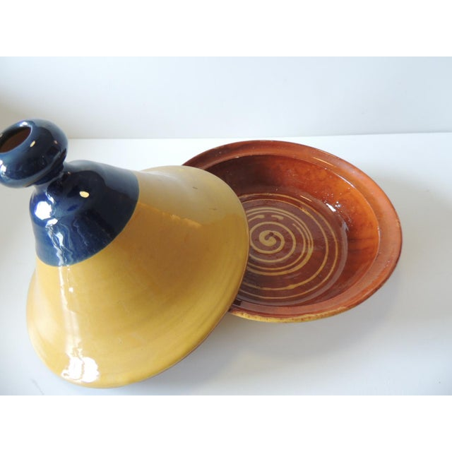 Moroccan Yellow and Blue Tagine Serving Bowl For Sale - Image 3 of 6