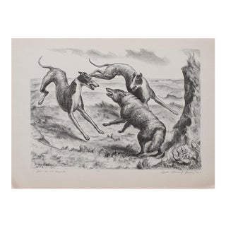 "1930s Vintage Black & White Lithograph ""Hounds and Coyote"" by John Steuart Curry"