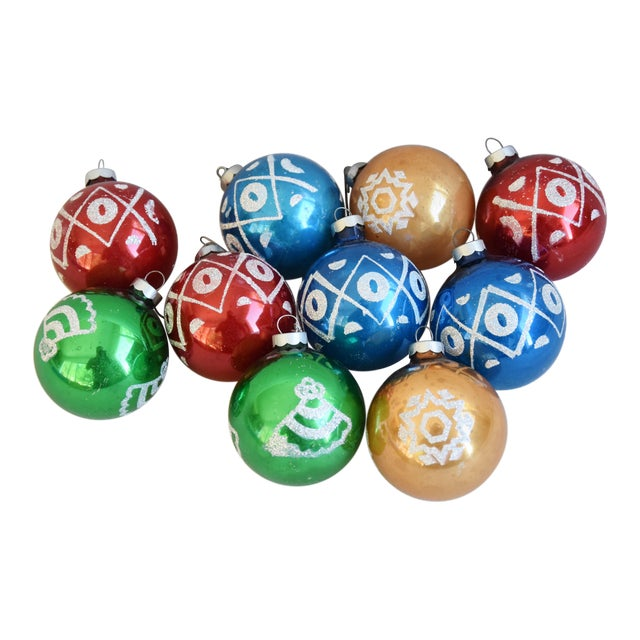 Midcentury Vintage Colorful Christmas Tree Ornaments W/Box - Set of 10 For Sale