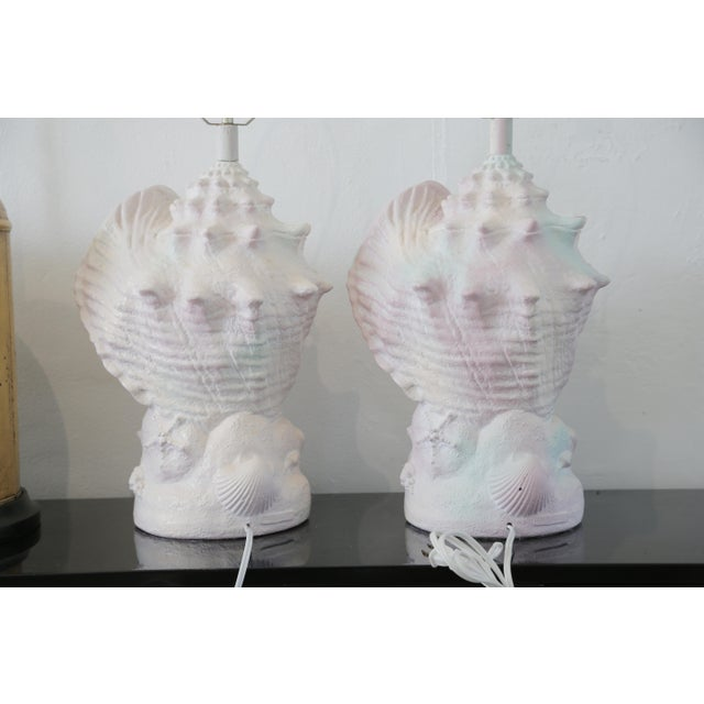 Shell Vintage Pair of Conch Shell Plaster Table Lamps For Sale - Image 7 of 8