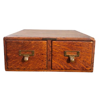 1900s Arts and Crafts Quartered Oak 2-Drawer Apothecary Desk For Sale