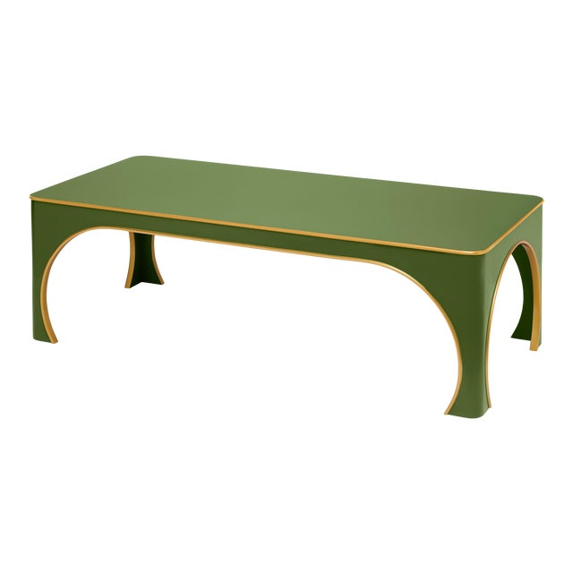 Miles Redd Collection Brighton Coffee Table in Lettuce Green/ Gold Egde For Sale