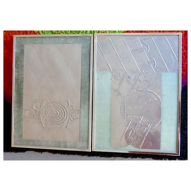 Mid-Century Abstract Foil Art - A Pair - Image 6 of 6