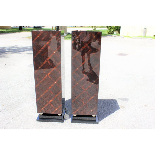 Art Deco 1940s French Art Deco Exotic Macassar Ebony Pedestals M-O-P Accents - a Pair For Sale - Image 3 of 13
