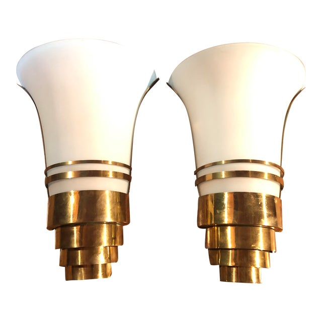 Vintage Art Deco Gold and White Glass Theatre Sconces - a Pair For Sale