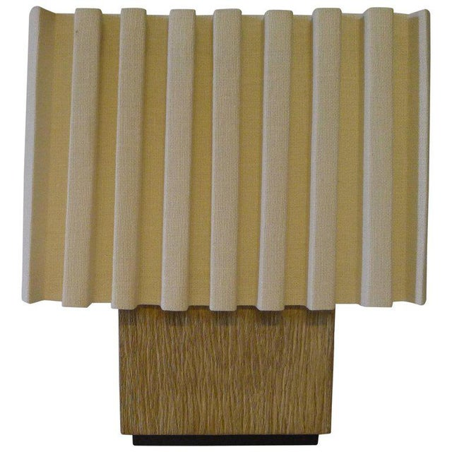 Tan Paul Marra Modern Distressed Oak Table Lamp For Sale - Image 8 of 8