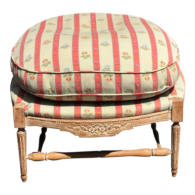 Large Regency Style Pink Striped Upholstered Ottoman For Sale In Los Angeles - Image 6 of 6