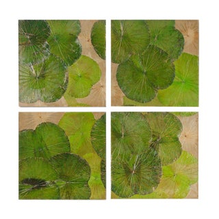 Lotus Leaf Wall Art Pieces - Set of 4 For Sale