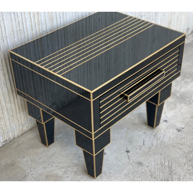 2010s New Pair of Mirrored Low Nightstand in Black Mirror and Chrome With Drawer For Sale - Image 5 of 10