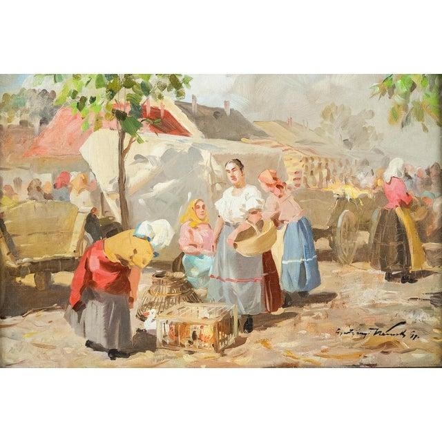 Gyula Nemeth -Women at an outdoor Market- Hungarian Oil Painting c.1910 Gyula Gytertyanyi Nemeth (1892-1946 Hungarian)...