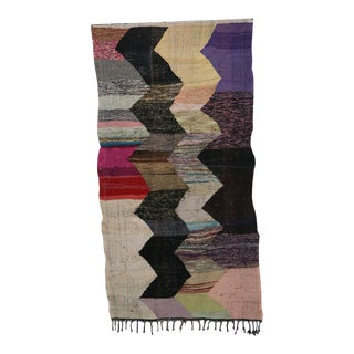 "Moroccan Kilim Boucherouite Rug- 4'10"" X 9'3"" For Sale"