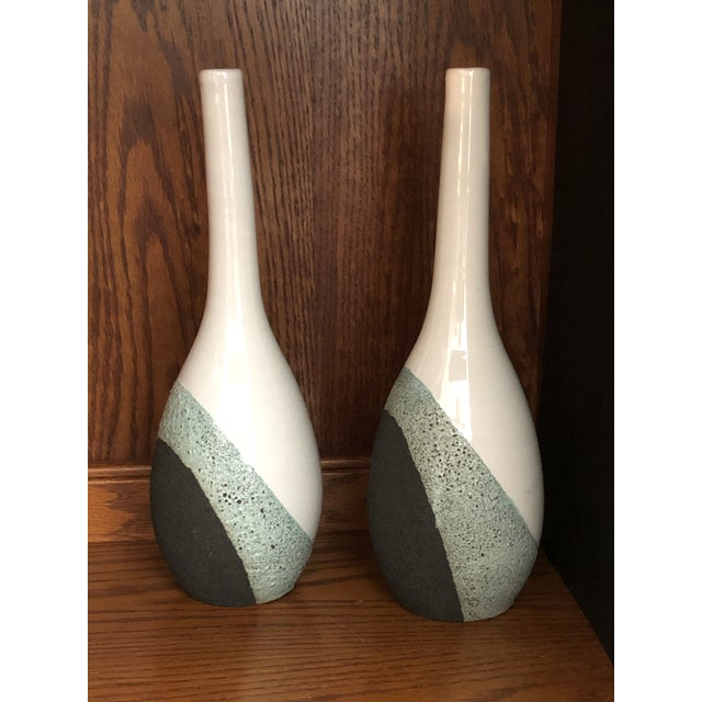 Mid-Century Modern Vintage Ettore Sottsass Bitossi Pottery Volcanic Glaze Raymor Vase - a Pair For Sale - Image 3 of 12